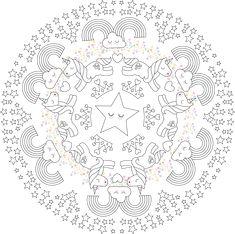 Mandala de Unicornio para niños en formato PDF. Puedes descargar gratis este mandala de dificultad media y muchos más en el enlace. Mandala Art, Diy And Crafts, Decorative Plates, Symbols, Kids, Students, Home Decor, Kawaii Drawings, Mandalas For Kids