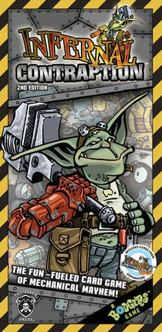 Infernal Contraption is a fun-fueled stand-alone card game of mechanical mayhem for 2-4 players where goblin bodgers race to assemble their nigh-uncontrollable machines of mass consumption!  #PrivateerPress #Boardgames #Bodgers