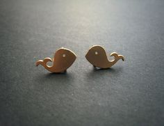 Tiny Whale Post Stud Gold Earrings by ohdeercreations on Etsy, $15.00
