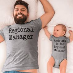 Regional Manager + Assistant to the Regional Manager (Adult Shirt & Baby Bodysuit/Toddler Shirt) - baby boy newnorn - Baby Kind, Our Baby, Baby Boys, Baby Names Boy, Mom Dad Baby, Bebe Shower, Futur Parents, Everything Baby, Baby Shirts