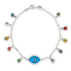 Multicolor Evil Eye Charms Link Bracelet Sterling Silver