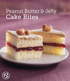 Peanut butter frosting and grape-jelly filling make these vanilla cake bites utterly irresistible!