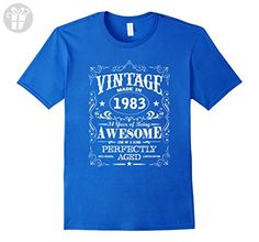 Mens Vintage made in 1983 Awesome Birthday Gift T-Shirt 3XL Royal Blue - Birthday shirts (*Amazon Partner-Link)