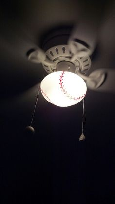 Baseball ceiling fan for a sports room. This is a plain white fan painted with a paint pen for the baseball stripes.