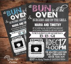 Bun in the Oven Baby Shower Invite - ImageStack Baby Shower Gender Reveal, Baby Gender, 2nd Baby, Baby Love, Couples Baby Showers, Bun In The Oven, Shower Time, Childrens Party, Reveal Parties