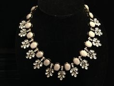 Lovely pale grey and crystal choker necklace