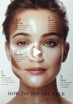 Contouring: So geht´s! – Make up guide for Square face – - Contouring: So geht´s! - Make up guide for Square face - Oval Face Makeup, Square Face Makeup, Eyebrow Makeup Tips, Makeup Contouring, Makeup Tricks, Eye Makeup, Makeup Ideas, Contour Square Face, Makeup Eyebrows