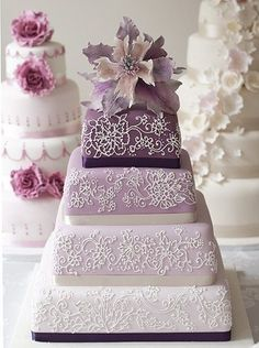 Purple Wedding Cake - Morris in Plum. wonder if it comes in aqua/tiffany blue? I think this would make a nice birthday cake too :) Who says you can't have a fancy, pretty birthday cake? Purple Cakes, Purple Wedding Cakes, Lilac Wedding, Beautiful Wedding Cakes, Gorgeous Cakes, Pretty Cakes, Amazing Cakes, Dream Wedding, Decoration Patisserie
