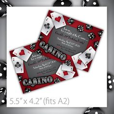 Printable Birthday Party Invitation . Gamble Love ~ $8.00 ~ printable invite, printable invitation, invite, invitation, party, celebration, event, do it yourself, diy, printable, casino, gamble, red, black, gray, red & black, dice, cards, poker, black jack, hearts, spade, clubs, diamonds ~ https://www.etsy.com/listing/83557159/casino-party-invitations-printable
