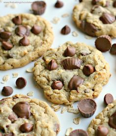 Reese's Peanut Butter Cup Chocolate Chip Oatmeal Cookies by The Baking Chocolatess