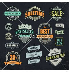Sale retro labels vector 1354342 - by morys on VectorStock®