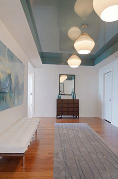 Urban Organic Chicago High-Rise Foyer Love the glossy ceiling!