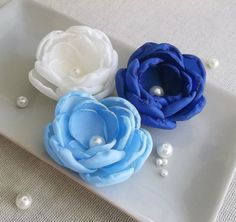 Ivory pale blue royal blue sapphire small flowers by ZBaccessory