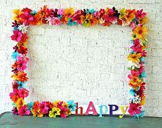Floral photo frame from a Hawaiian Luau Birthday Party on Kara's Party Ideas | KarasPartyIdeas.com (25)