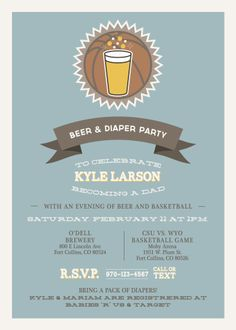 A unique Daddy baby shower invite! #cute #Dad #baby #babyshower #beer #invite #brewery #basketball #playful #unique