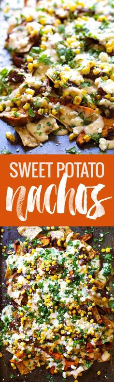 Healthy Grilled Sweet Potato Nachos - roasted corn, black beans, grilled sweet potatoes, multigrain chips, and a lightened up homemade cheese sauce. SO GOOD! 300 calories. | pinchofyum.com
