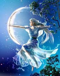 """Artemis is the Greek goddess of the hunt, the Moon, chastity, animals, and the wilderness. She and her twin brother Apollo are known as the """"Twin Archers."""" Artemis' handmaidens are known as the Hunters of Artemis, a group of young women that have turned their back from the company of men and have pledged themselves to the goddess."""