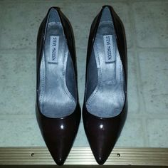 Steve Madden Wine Heels Wine colored heels. A couple minor imperfections as shown in pictures #3 & 4. Not noticeable when wearing. Otherwise great condition only worn a couple times. 3 inch heel. Steve Madden Shoes Heels