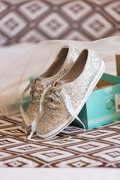 39468127b5 Silver Sequin Kate Spade Keds Sneakers were a Comfortable Wedding Shoe for  the Bride at This
