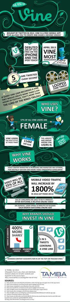 L'essor en chiffres de la plateforme Vine et ses vidéos de 6 secondes - Kriisiis.fr #Infographie | via #BornToBeSocial - Pinterest Marketing