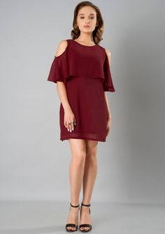 988f2f2771b190 Cold Shoulder Cape Shift Dress - Maroon Online