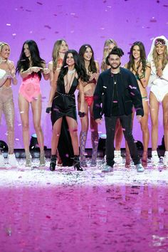 Selena Gomez and The Weeknd during the 2015 Victoria's Secret Fashion Show