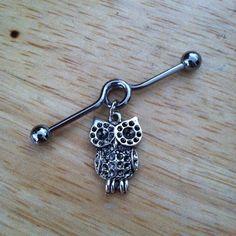 Industrial Barbell - Silver Owl Industrial Barbell - Industrial Piercing on… Industrial Earrings, Industrial Piercing Jewelry, Industrial Barbell, Industrial Bars, Ear Jewelry, Body Jewelry, Jewlery, Cool Piercings, Piercing Ideas