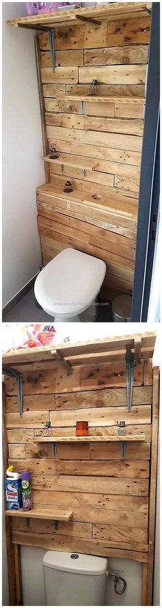 Custom designed arrangement of recycled wooden pallet slats have been put inside it which has ended in the perfect finishing of pallets made bathroom wall art. This wooden wall art with things storage space seems wonderful for decoration as well as bathroom accessories placement. #pallets #woodpallet #palletfurniture #palletproject #palletideas #recycle #recycledpallet #reclaimed #repurposed #reused #restore #upcycle #diy #palletart #pallet #recycling #upcycling #refurnish #recycled…