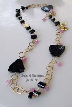 Black Tourmaline, Pink Sapphire Brioliettes & 24kt Gold Vermeil charm long necklace | Schaef Designs artisan handcrafted gemstone Jewelry | upscale online jewelry gallery boutique | New Mexico