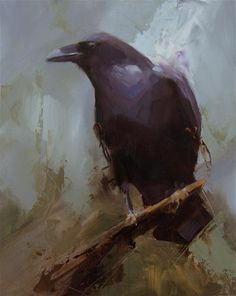"""Daily Paintworks - """"Raven 4"""" - Original Fine Art for Sale - © Thorgrimur Andri Einarsson Media: Oil on linen Size: 10x8 in"""