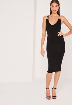 Missguided - Double Strap Cross Back Plunge Midi Dress Black