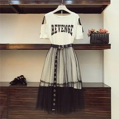 Fashion Dresses 699254279622352635 - 2 Piece set 2018 Summer Women's Cotton Long Strapless T-shirt +Mesh See Through Skirt Sets Women Fashion Holes Belt Skirts Suits Source by Fitted Prom Dresses, Cute Dresses, Sleeveless Dresses, Skirt And Top Set, Skirt Belt, Mesh Skirt, Shirt Skirt, Mode Outfits, Gucci Outfits