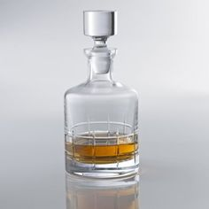 Soho Whiskey Decanter. Boldly shaped with a thick, weighty base and crosshatch cut design, solid glass stopper. Made in Europe. Beautiful!