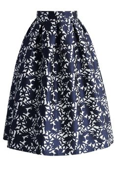 Navy Floral Embossed Midi Skirt - Skirt - Bottoms - Retro, Indie and Unique Fashion