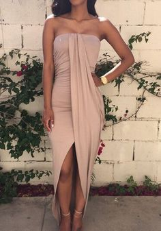 Khaki Plain Ruched Bandeau Irregular Asymmetrical Sleeveless Sexy High-Low Dress