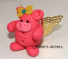CHUBBY FLYING PIG with Golden Wings  Polymer Clay by KatersAcres®