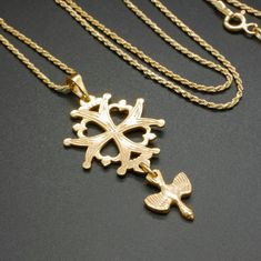 Cross Pendant, Gold Pendant, Religious Symbols, Maltese Cross, Spiritual Gifts, Rope Chain, Gold Chains, Vintage, Etsy