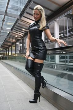 Handmade Women's lamb Skin Leather Dress , Leather Outfit, Leather Jacket , Women's Full Leather Coat, Genuine Leather Jacket Botas Sexy, Black Leather Dresses, Hot High Heels, Sexy Boots, High Boots, Leather High Heel Boots, Knee Boots, Fashion Outfits, Womens Fashion