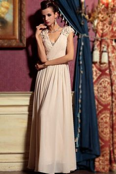 Sleeveless Beige in Chiffon Floral Evening Dress (30781) | Bridal wear, bridesmaid and red carpet dresses from Elliot Claire London