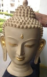 Buddha Mask to adore your walls - 15 inches,Stone finish and Gold color