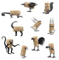Inspiring toys not only for children - Figuren - unique crafts Wine Cork Art, Wine Cork Crafts, Diy Cork, Wine Cork Ornaments, Instalation Art, Steel Art, Cardboard Art, Found Object Art, Junk Art