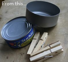 Make It: Spring-y Tuna Can and Clothes Pin Planter/Candle Holder