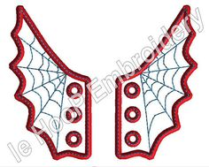 In-The-Hoop SPIDER WEB Shoe Wings Machine Embroidery Design 4x4 5x7 (love the glow in the dark version)