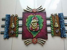 Dm for Birthday gift, Friendship gift, Valentine gift, Anniversary gift and any other Customize gift🎁 . Share your love and happiness with handmade gift💝 . Crafting by: 👉Direct message📲/Email💌/Call 📞 for more details. Clay Wall Art, Mural Wall Art, Mural Painting, Ganesha Painting, Ganesha Art, Clay Art Projects, Clay Crafts, Name Plate Design, Terracotta Jewellery Designs