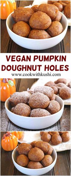 Vegan Pumpkin Doughnut Holes are easy to make, soft and fluffy fried sweet snacks loaded with full of flavor and perfect way to celebrate fall.  @bhg  @buzzfeedfood #buzzfeedfood #feedfeed @feedfeed #fall #Pumpkin #Vegan #dessert #sweet #snack #appetizer #recipes