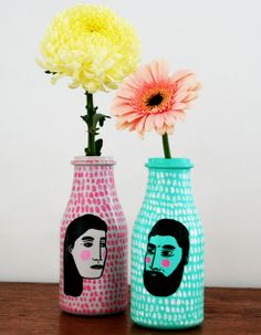 hand painted vases by Todd Borka http://www.etsy.com/listing/165746181/2-hand-painted-vases?ref=shop_home_active