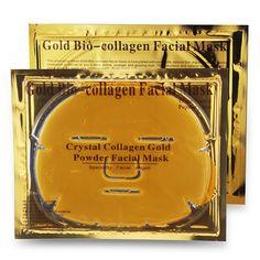 5PCS Face Skin Care Gold Collagen Face Mask Face Mask Crystal Gold Powder Collagen Face Mask Whitening Moisturizing Anti-aging