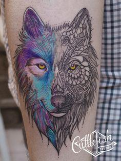 Watercolor Wolf Tattoo Ideas - Yo Tattoo