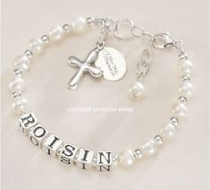 Luxury Girls Name Bracelet with Cross and First Holy Communion Charm - Special First Communion Gifts for Daughter, Granddaughter, Goddaughter, Niece, Sister