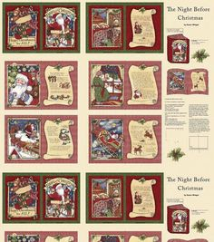 Susan Winget Holiday Insporations Fabric Night Before Cmas Book Panel
